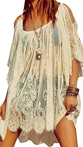 VISKEY-Vintage-Boho-Hippie-Women-Floral-Crochet-Lace-Party-Short-Dress-Tops
