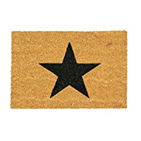 Nicola Spring Non-Slip Coir Door Mat - 60 x 90cm - Black Star - PVC Backed Welcome Mats Doormats