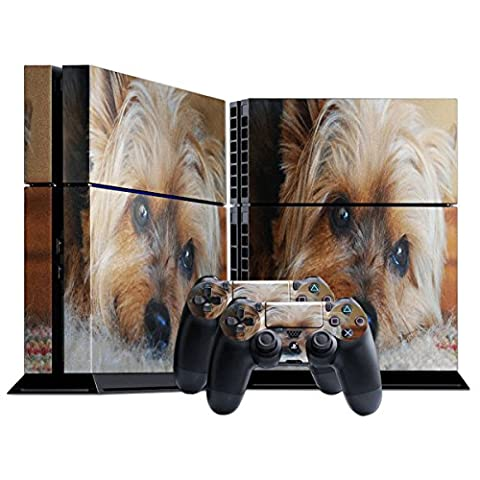 Terrier, Skin Sticker Vinyl Cover with Leather Effect Laminate and Colorful Design for Playstation 4 CUH 1000