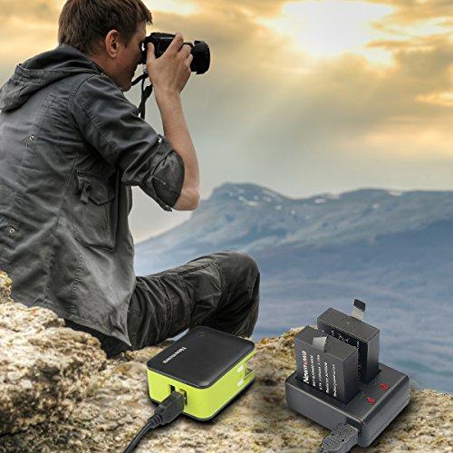 Newmowa 1100mAh Batería de repuesto (2-Pack) y Kit de Cargador Doble para Micro USB portátil para SJ4000,SJ5000,SJ6000 of Sunco, SJCAM, RioRand, AFUNTA, Tronsmart, MeGoodo, Tronsport, SeresRoad,HYSJY, Kebo, Koiiko, LCtechHYSJY, Kebo, Koiiko, LCtech,Aizbo, DBPOWER, Findway,YI 4K Discovery version