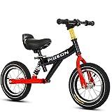 Bicicleta sin pedales Bici Bicicleta Sport Balance especializada: Ruedas de 12 Pulgadas Sin Pedales Bicicletas de Entrenamiento para 1/2/3/4/5/6 años, Negro/Azul/Rosa (Color : Negro)