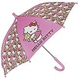 Ombrello Hello Kitty - Ombrello bambina trasparente a cupola, resistente, antivento e lungo - Sicuro con puntine arrotondate e bloccate - Apertura manuale di sicurezza - Perletti