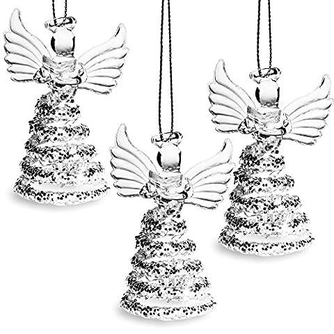 SIKORA BS409 Décorations de noël en verre soufflé - Anges avec livre et robe à paillettes - Set de 3