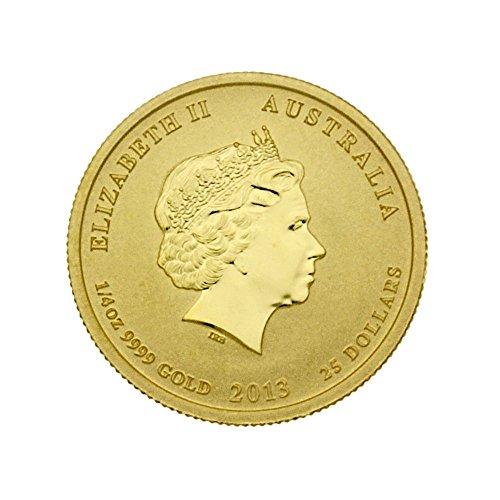 """1/4 oz Australien 2013 Lunar II """"Year of the Snake"""" (Schlange) 0,25 Unzen 999,9 Gold"""