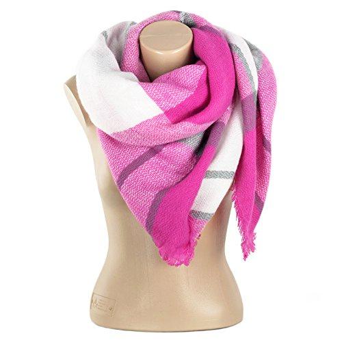 Oversized Damen Herbst/Winter Schal Übergroßer Schal Winterschal beidseitig tragbar in rosa/weiss XXL Damen Schal von der Marke MyBeautyworld24
