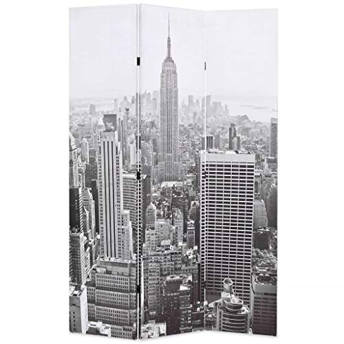 vidaXL Biombo Divisor Plegable 120x180cm York Blanco/Negro Decoración