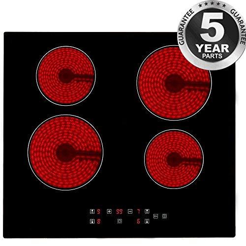 Electric Ceramic Hob, PALDIN 60cm Built-in Ceramic Hob 4 Zones 6000W Electric Cooktop Sensor Touch Controls with heat protection Black(Line outlet is in the front of the hob, without plug)