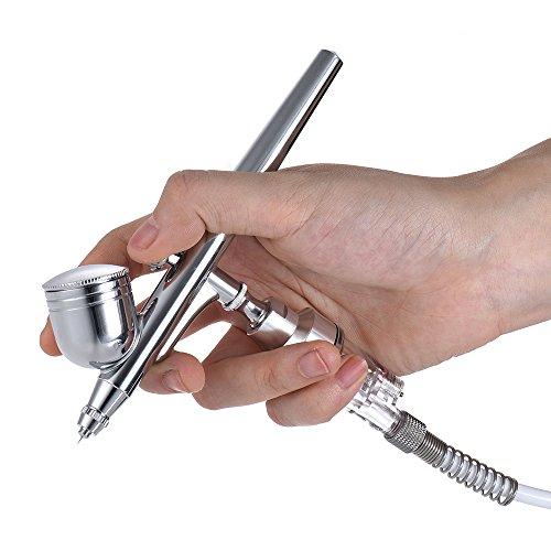 Aibecy Professionelle Mehrzweck-Basic-Airbrush-Luftkompressor-System-Kit-Set Schwerkraft-Feed Dual-Action-0,20 mm Düse 2cc Trigger-Spray-Stift für Malerei Sprühen 3D-Druck-Modelle Nail Arts Air Brush (Kit Spray Malerei)