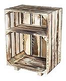 Vintage-Möbel24 GmbH 2ER Set - NACHTTISCH mit Boden in *GEFLAMMT* 30,5X40X54CM, Regal, Schrank, Ablage,Holzschrank, Obstkiste,Apfelkiste,Holzkiste, Nachtscharank