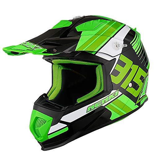 NENKI NK-315 Cascos de motocicleta y cascos de motocross para hombres y mujeres aprobados por ECE (Black Green White, S)