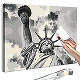 murando - Malen nach Zahlen Freiheitsstatue 50x40 cm Malset mit Holzrahmen auf Leinwand für Erwachsene Kinder Gemälde Handgemalt Kit DIY Geschenk Dekoration n-A-0471-d-a
