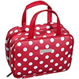 Audacity Hanging Red and White Polka Dot Compact Small Cosmetic Travel Toiletry Wash Bag for women and girls