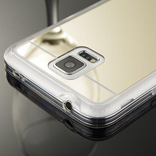 Samsung Galaxy S6 Edge plus Hülle,Xinyunew Silikon Spiegel Mirror Schutzhülle für Samsung Galaxy S6 Edge plus Case Crystal Silber Durchsichtige TPU Bumper Samsung Galaxy S6 Edge plus Handyhülle [Gesch Rose Gold