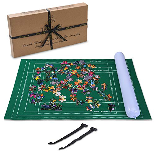 Jaques of London Aufblasbare Puzzle-Rolle bis zu 1500 Stück - Puzzle-Matte mit faltbarem Stoff - Puzzle-Roll-Up-Board-Rohre mit Easy-Catch-Verschluss Baize Material