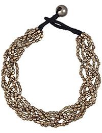 81stgeneration Silber Ton Messing Pattern Kleine Oval Geflochtene Perlen Armband