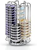 52 Tassimo Pod T-Disc Kapselhalter Edelstahl Ständer Tower Dispenser mit drehbarer Basis - FREE Chocolate Shaker - Speichern Bis zu 52 Tasimmo T-Discs - 360 Grad Rotierende Base