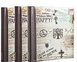 Arpan Selbstklebende Fotoalben mit 60 Blättern / 120 Seiten, Inspirierende Slogans Fotoalbum - 3er Pack