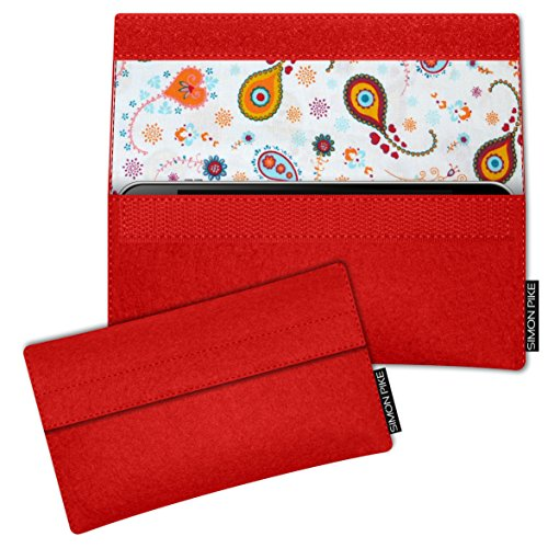 SIMON PIKE Apple iPhone SE/5S/5C/5 Filztasche Case Hülle 'Sidney' in rot 10, passgenau maßgefertigte Filz Schutzhülle aus echtem 100% Natur Wollfilz, dünne Tasche im schlanken Slim Fit Design für das  rot Filz (Muster 10)