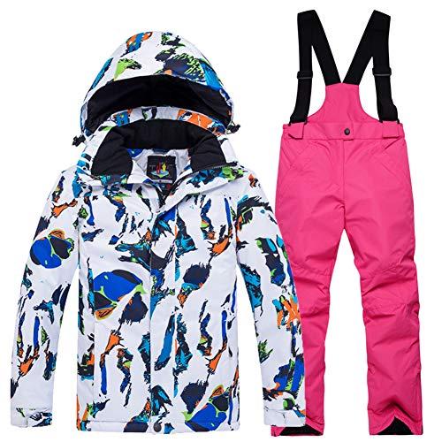 LPATTERN Traje de Esquí para Niños/Niñas Chaqueta Acolchada + Pantalones de Nieve Impermeables para Deporte de Invierno, Blanco-Azul+Rosa roja, 5-6 años/S