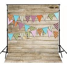 Madera línea de Puntos de Color bebé Feliz cumpleaños Bandera photocall fotografia Vinilo telones de Fondo