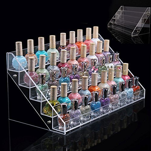 5 Tier Acrylic Nail Polish Stand | Holds up to 65 Nail Varnish | Retail Cosmetic Display | Makeup Storage rack by Wimports