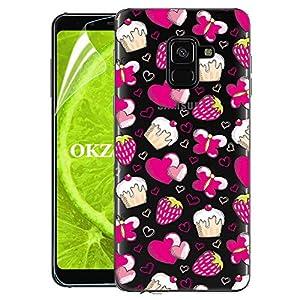 OKZone Galaxy A8 2018 Hülle mit HD-Schutzfolie, Silikon Durchsichtige Handyhülle Ultradünne stoßfest Schutzhülle Handytasche Cover weiche Case für Samsung Galaxy A8 2018 (Erdbeere)