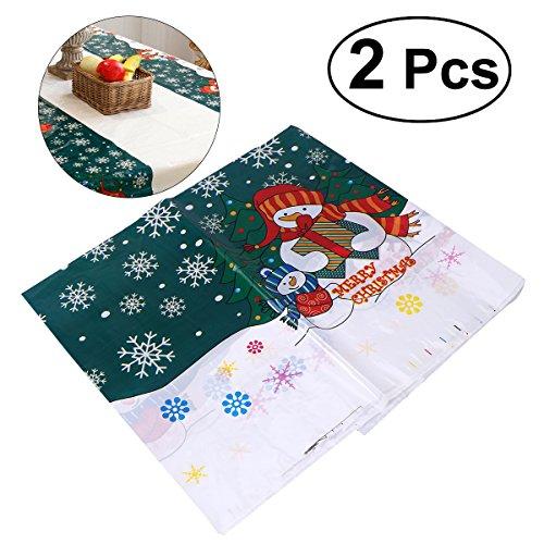 Tinksky Weihnachten Einweg PVC Tischdecke Bezug 2Weihnachts Tischdecke Tischläufer Weihnachten Home Party Tisch Dekoration Supplies 110x 180cm