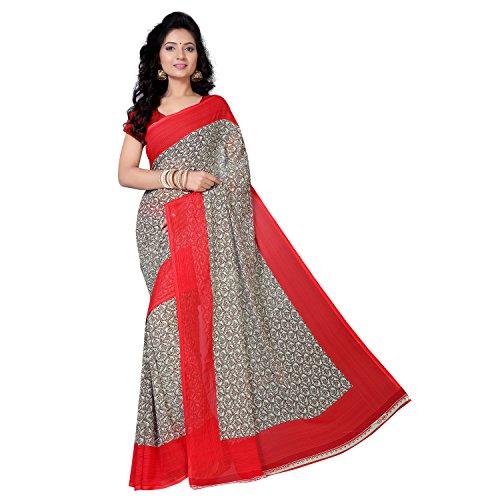 vimalnath Women's red georgette saree