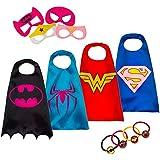 LAEGENDARY Costumes de Super Héros pour Enfants - 4 Capes et Masques – Logo Wonder Woman qui Brille dans le Noir – Jouets pour Filles