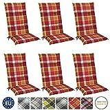 Beautissu 6er Set Sunny RO Hochlehner Auflagen Set für Gartenstühle 120x50 cm in Rot Kariert - Bequeme Gartenstuhl Stuhlkissen Polsterauflagen UV-Lichtecht