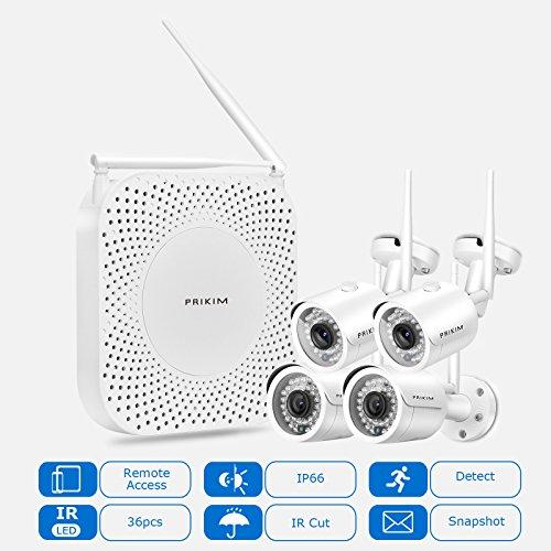 PRIKIM-W6-1080P-NVR-4-100W-IP-Camera-Wireless-sistema-de-cmara-de-seguridad-1080P-WiFi-Video-NVR-con-4-Wireless-Mini-IP-Cmaras-Impermeable-IP66-visin-nocturna-para-la-vigilancia-en-el-hogar