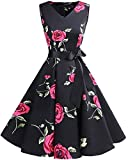 bridesmay 1950er Vintage Cocktailkleid Rockabilly V-Ausschnitt Kleid Retro Schwingen Kleid Faltenrock Black Red Flower XL