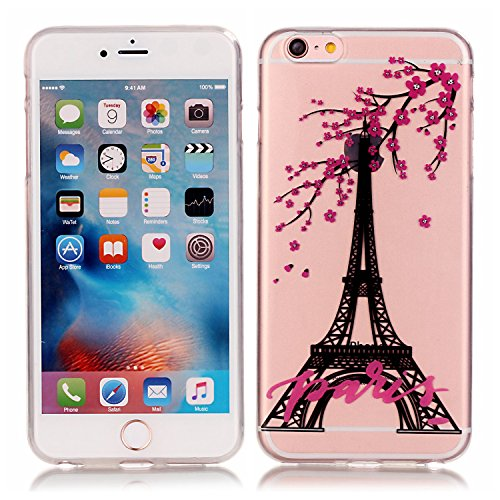 iphone 6 iphone 6S Coque,Cozy Hut Etui Coque TPU Slim Bumper pour Apple iPhone 6 6S (4,7 pouces) Souple Housse de Protection Flexible Soft Case Cas Couverture Anti Choc Mince Légère Silicone Cover - P Plum Tower, Paris, Tour Eiffel