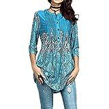 4c9ab9481db5ef IZHH Damen Langarmshirts, Frühling Elegante Frauen O-Ausschnitt Tunika  Outdoor Bluse T-Shirt Tops Seidiges Material Ethnischer  Blumendruck(Blau2,Medium)
