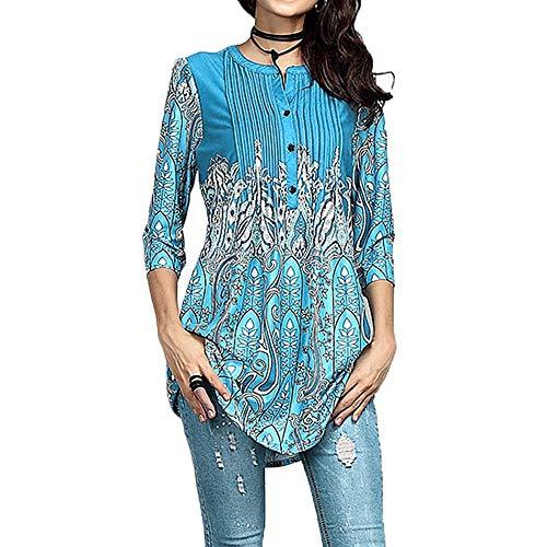 IZHH Damen Langarmshirts, Frühling Elegante Frauen O-Ausschnitt Tunika Outdoor Bluse T-Shirt Tops Seidiges Material Ethnischer Blumendruck(Blau2,Large)