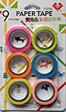 MGR Paper Tape Set of 6 Attractive Neon Color Adhesive Paper Tapes for Decorative Purposes (9mm)
