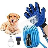 TI-ZETA Tier-Sprühgerät für Dusche, Hunde, Multifunktional, kombinierbar mit Sprühgerät und Massagekamm Bad-Werkzeug mit flexiblem Schlauch und Massagehandschuh