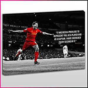 S480 Steven Gerrard Privilege Liverpool Captain Legend Number 8 Black White & Red Unique Sport Framed Ready To Hang Canvas Print, Sport, Pop Street, Wall Art, Picture from What's On Your Wall