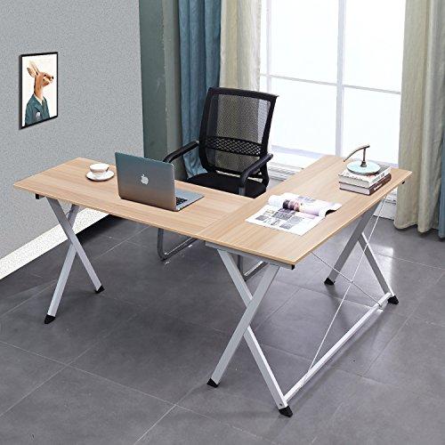 soges Ecktisch Computertisch Schreibtisch Eckschreibtisch Arbeitstisch Winkelschreibtisch L-Form mit CPU-Ständer aus hochwertige Holzwerkstoffen für Büro und Arbeitszimmer,Millennium Oak -