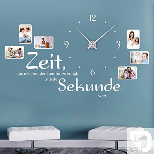 fotorahmen uhr DESIGNSCAPE® Wandtattoo Uhr Familienzeit mit Fotorahmen - Zeit, die man mit der Familie verbringt, ist jede Sekunde wert. 120 x 69 cm (BxH) weiss inkl. Uhrwerk silber, Umlauf 44cm DW813031-M-F5-SI