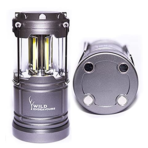 Wild Endeavours 300lm Magnetic LED Lantern - Ultra Bright Tough Collapsible Lamp - Great Light for Camping, Garage, Car , Shed, Loft, Hiking & Emergencies - Warranty