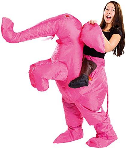 Playtastic Männer-Kostüm: Selbstaufblasendes Kostüm Rosa Elefant (Faschingskostüm, aufblasbar) (Männer Für Ganzkörper-anzug)