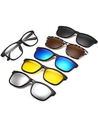 Tukistore 5 Pares polarizados Clip-on Flip up Metal Clip Gafas de Sol TR90 Marco UV400 Conducción