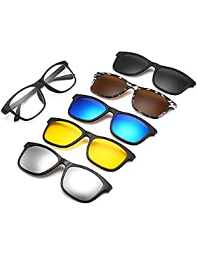 Memoryee Unisex Retro 5Pcs Gafas de sol polarizadas desmontables con clip magnético TR Frames Ultra Light Set