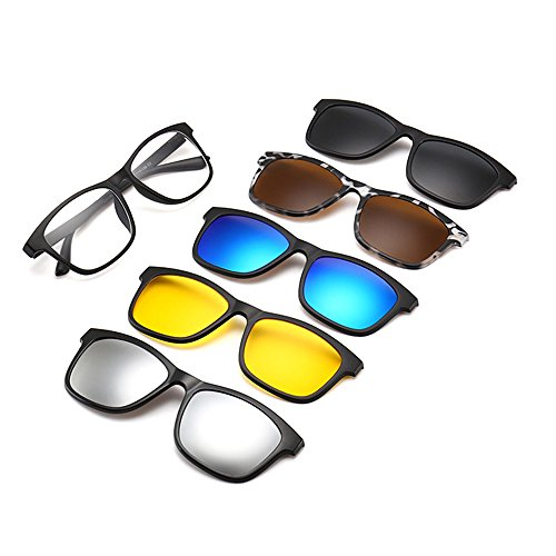 Memoryee unisex retro 5pcs occhiali da sole polarizzati removibili magnetici clip-on tr frames ultra light set 2201