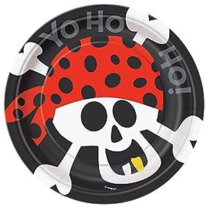 Unique Party -  Platos de Papel - 18 cm - Fiesta Pirata - Paquete de 8 (40494)