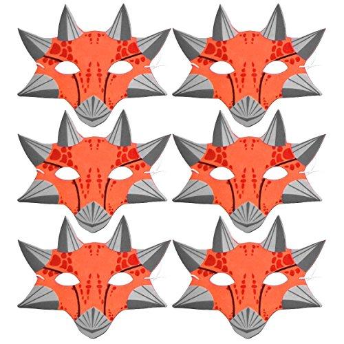 6 helle, Orange-Dinosaurier-Kinder Schaumstoff-Masken, Blue Frog Toys Ltd.