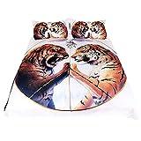Stillshine Bettbezug & Kissenbezug 3D Tier Tiger Löwe Wolf Elch Design Pattern Leichte Mikrofaser Bettwäsche Set Einzelgröße Doppelte King Size (Weißer Tiger, Doppelte 200x200cm)