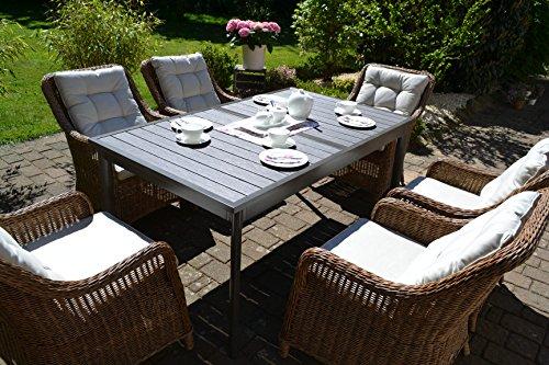 bomey Rattan Lounge Set I Gartenmöbel Set Como-XL 7-Teilig I Essgarnitur mit Polstern I Sitzgruppe Braun + Tisch Ausziehbar + Polster Beige I Dining Lounge für Terrasse +