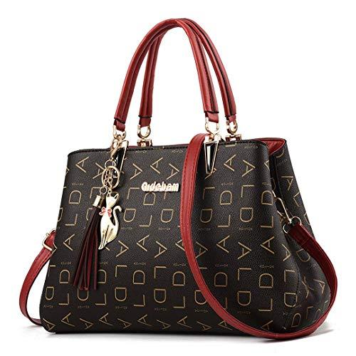 Everberul Damen Geldbörsen und Handtaschen Umhängetasche Damen Designer Satchel Messenger Tote Bag 1-Lager-red -